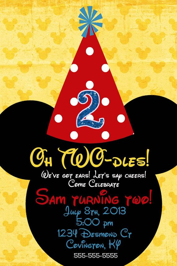 Mickey Mouse Custom Birthday Invitation 2 designs                                                                                                                                                                                 More