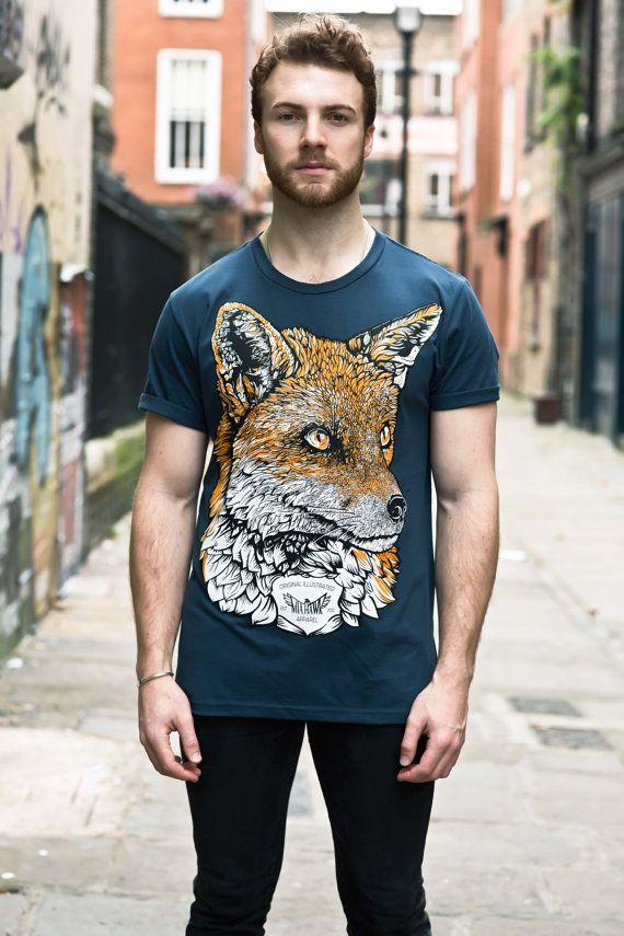 Fox t shirt graphic tee illustrated t-shirt mens t by MiaTheHawk