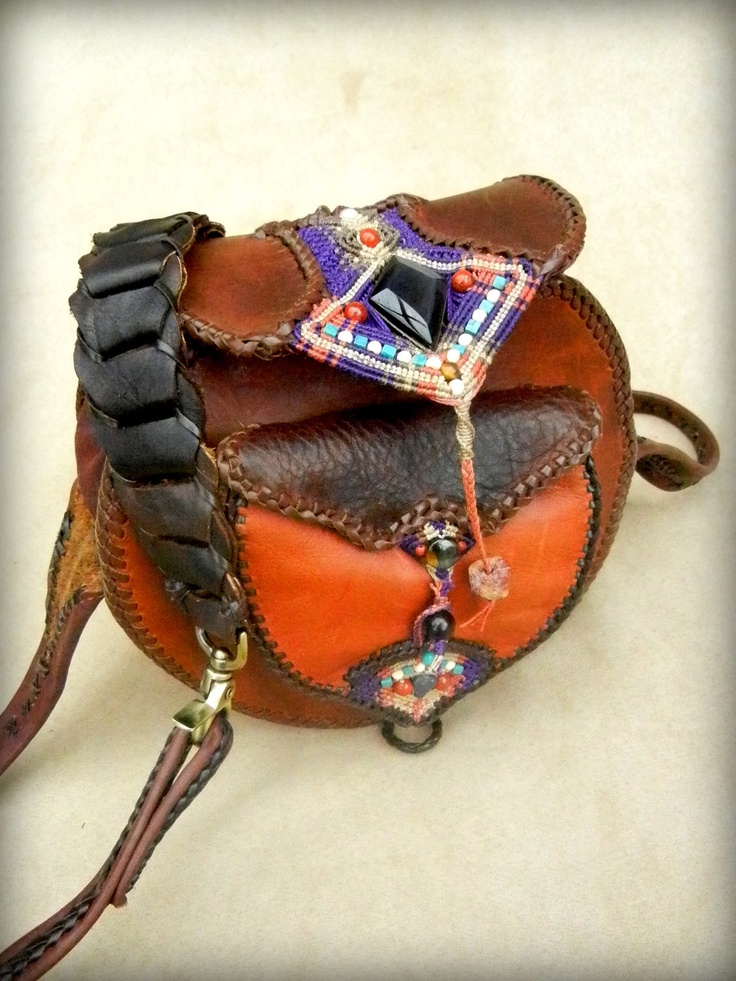 Leather Shoulder Bag Purse with Micro Macrame Inlay featuring Stone Application. $677.00, via Etsy.