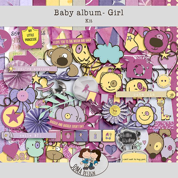 Oscraps.com :: Shop by Category :: All New :: SoMa Design: Baby album - Girl - Kit