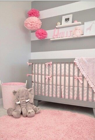 Gray and pink nursery, change the pink to purple