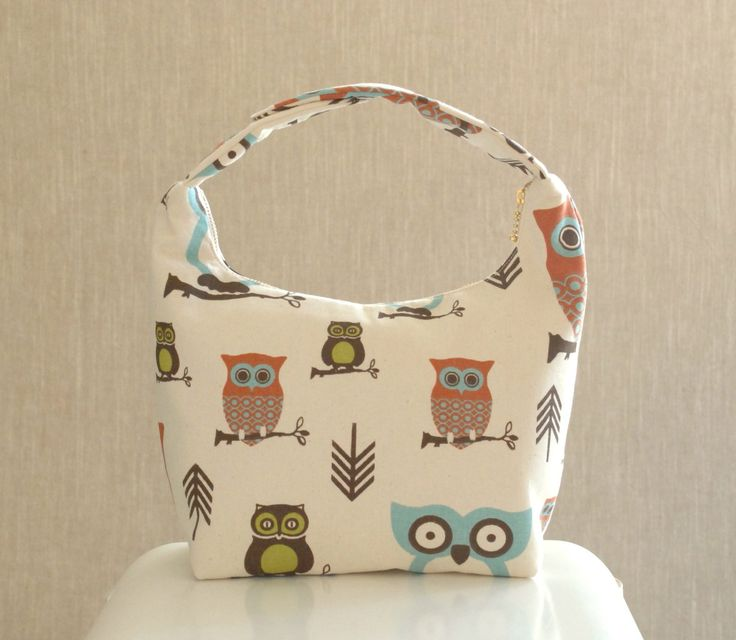 Insulated Lunch Bag, Girls Lunch Bag, Lunch Tote, School Lunch Bag, Childrens Lunch Bag, Whimsical Owl Print on White