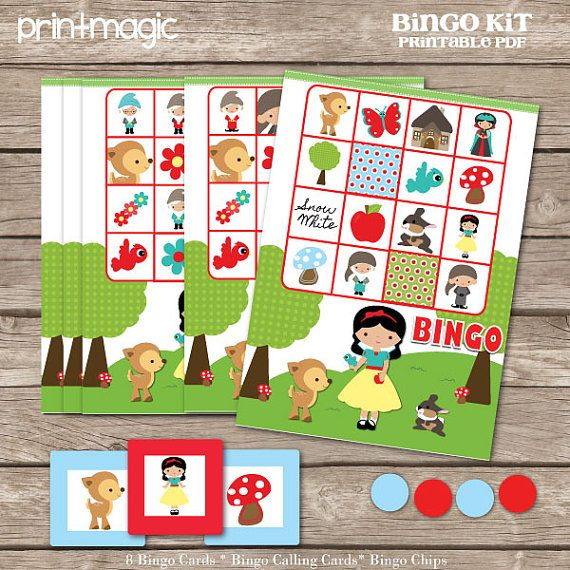 Instant Download Snow White Bingo Printable Party Game - Printable PDF on Etsy, $4.00