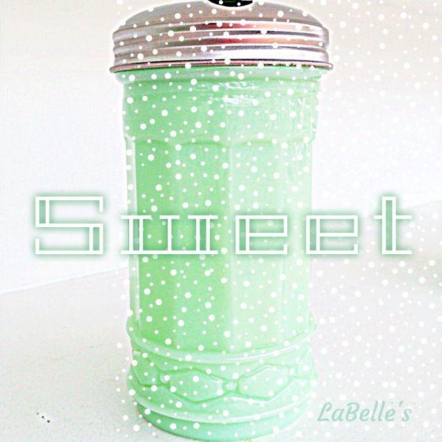Vintage Sugar Dispenser | Jadeite Milk Glass | Sweet! This retro-style Jadeite Sugar Dispenser isthe type found on lunch counters in old fashioned diners. | LaBelle's General Store #jadeite #vintage kitchen