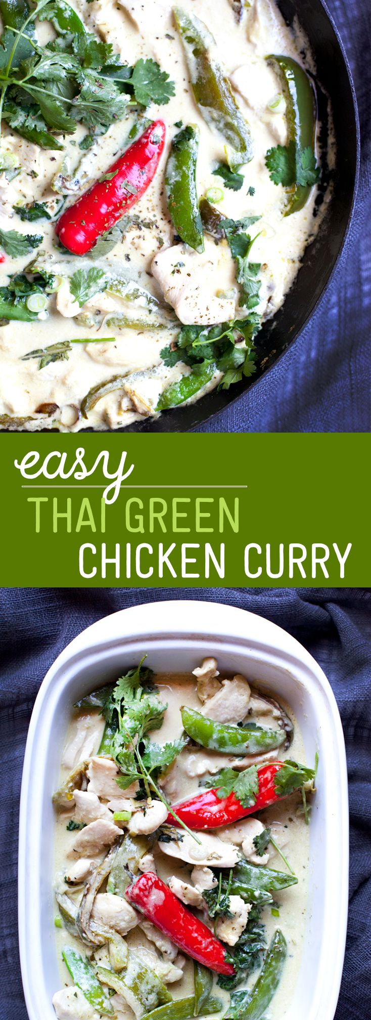 Easy Thai Green Chicken Curry - did red/green peppers, snap peas, bok choy and mix of green/red curry paste