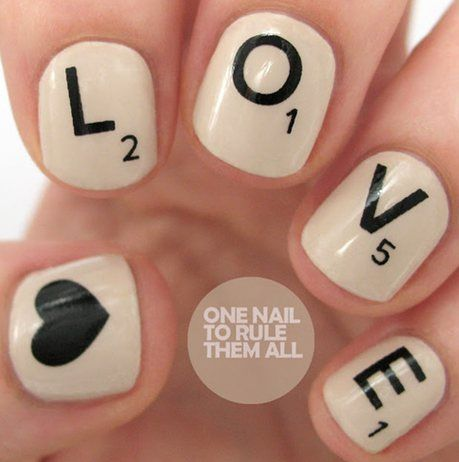 Beautiful concept with putting letter tiles from word games into a cute nail art design! I absolutely adore these nails!