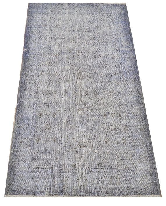 3.8x7 Ft 112x210 cm Light Blue Color OVERDYED by WeMakeRugs, $349.00
