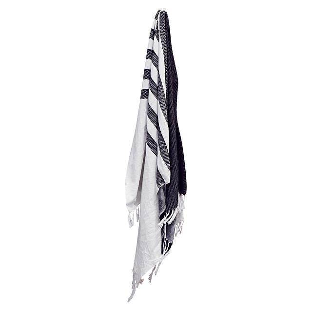 TALULAH Waves Play Cotton Turkish Towel, Black/White