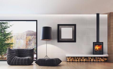 put in corner, wood stored beneath, art on wall/bookcase