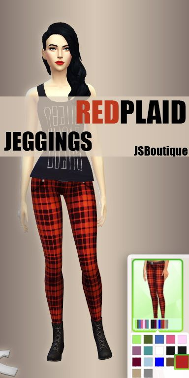 JS Boutique: Jeggings  Red Plaid and Dark Blue - Sims 4 Downloads
