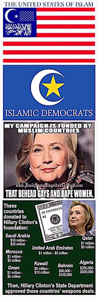 She thinks sharia law is liberating for women, so much for women's rights! She's not for women, she's for making bill and hillary obscenely rich! She's the bilderberg group and muslim brotherhoods puppet, they will call the shots! VOTE TRUMP! He's not part of the Washington political corruption!