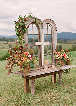 Vintage window backdrop | 15 Fab Ways to Incorporate Antiques into your wedding decor | Vintage weddings