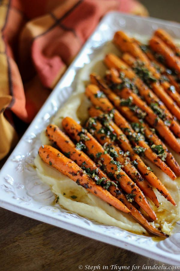 Chimichurri Carrots & Parmesan Parsnip Purée | landeelu.com ... this would make such an amazing side dish for Thanksgiving!
