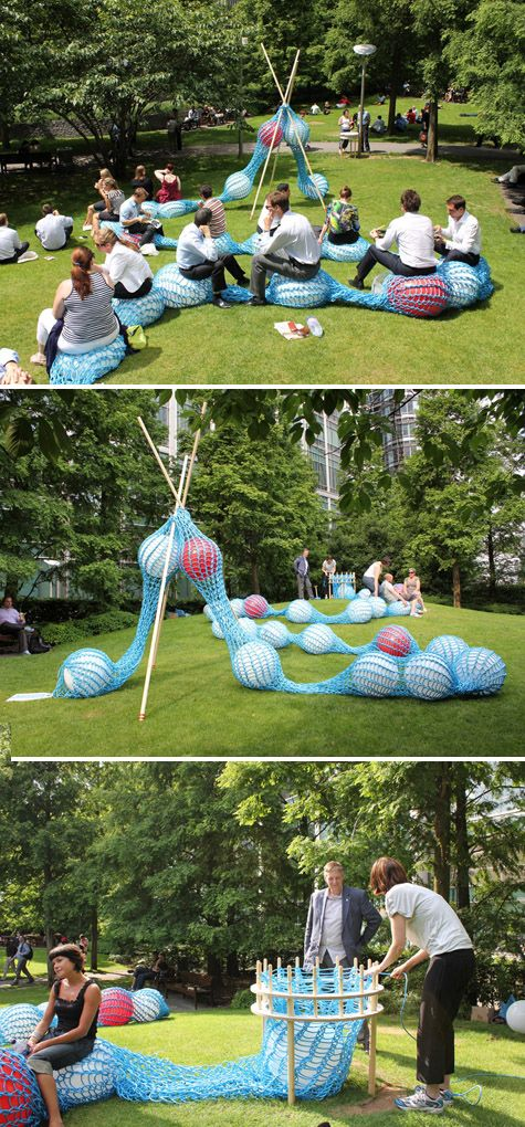 This park-sized net filled with bouncy balls. | 21 Gigantic Knitted Things You'd Love To Cuddle Up With