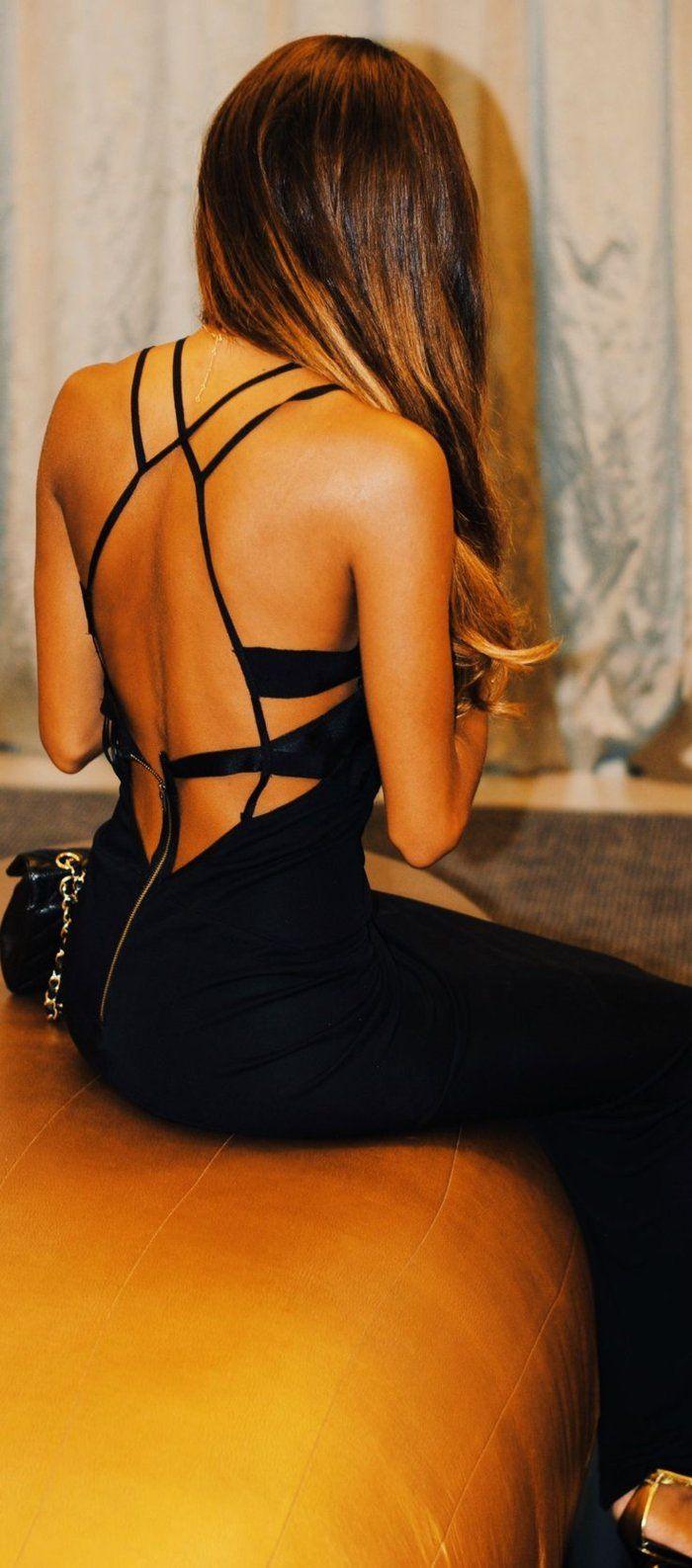 Robe noire longue avec dos nue