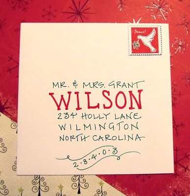 christmas inspiration -- christmas card calligraphy, a beautiful and festive way to address envelopes for an extra holiday touch