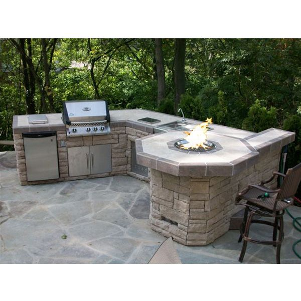 This Outdoor Room Offers a Grill Island & Fire Pit with Custom Stone & Tile