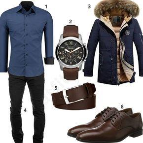 Elegantes Herren-Outfit mit dunkelblauem Hemd und Parka mit Pelzkragen, schwarzer Chino, Fossil Armbanduhr, Macosta Ledergürtel und Lloyd Schnürhalbschuhen. #business #parka #fossil #uhr #outfit #style #herrenmode #männermode #fashion #menswear #herren #männer #mode #menstyle #mensfashion #menswear #inspiration #cloth #ootd #herrenoutfit #männeroutfit