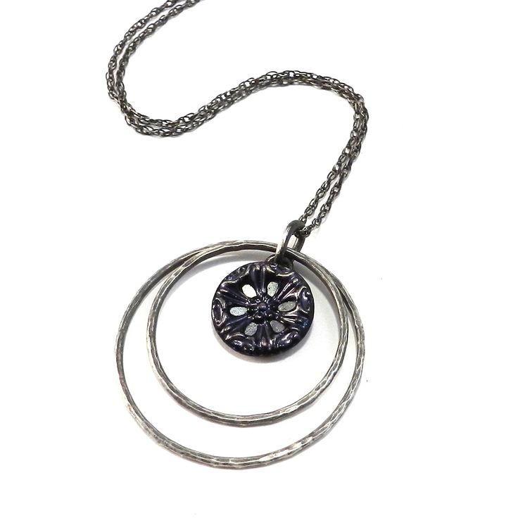 Teal Mirror - Sterling Silver Antique Button Necklace - Echo
