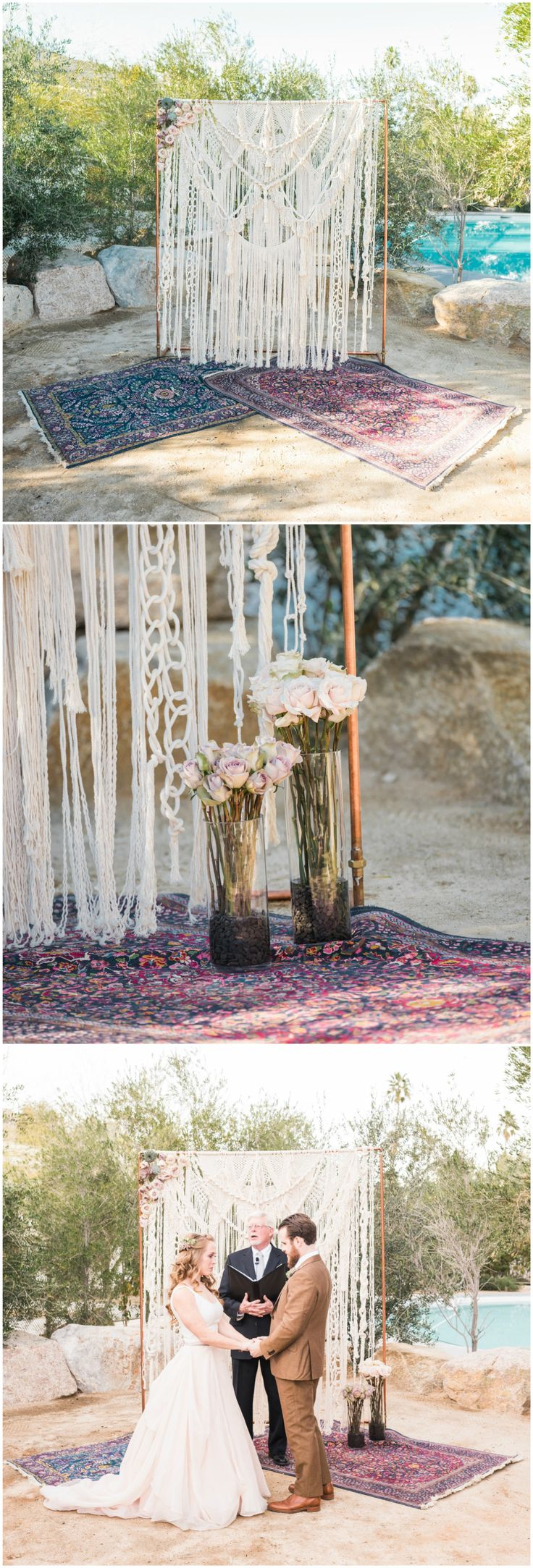 Outdoor boho wedding ceremony, colorful rugs, roses, crochet arbor, California wedding // Randy + Ashley