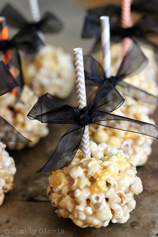 These popcorn balls will work great as party favors. The ribbon will be the theme's colors.... Thanks @Angie Denise for the inspiration!