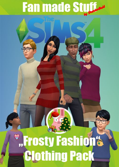 """""""Frosty Fashion"""" Clothing Pack   Infos + Download under the Cut // Für Infos + Download weiterlesen:   [ENGLISH] Even if you won't have a white Christmas, your sims should wear something nice against the cold. This clothing pack gives you what your sims' hearts desire. Make them feel warm, comfortable, looking awesome and feeling christmassy. Merry Christmas!   Note: In Germany you open presents at 24th of Christmas Eve (today), so be happy ~ sims present time is now four your (even when…"""