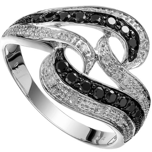 Sterling Silver White  Black Diamond Double Swirl Ring only $170 - purejewels.com.au