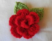 Handmade  Crochet   Red   Rose  Brooch  Pin  or  Corsage, Wedding,Shawls,Lariats,Scarf