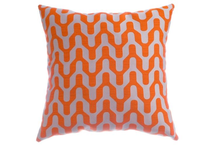 Tangerine geometric pillow