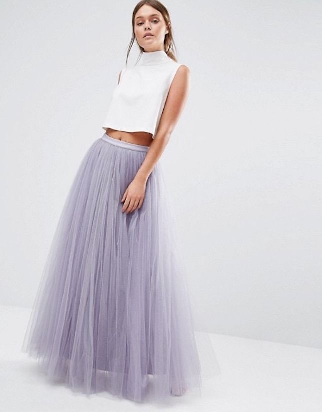 All about adding this dreamy dusty lilac tulle skirt to the wardrobe lineup.