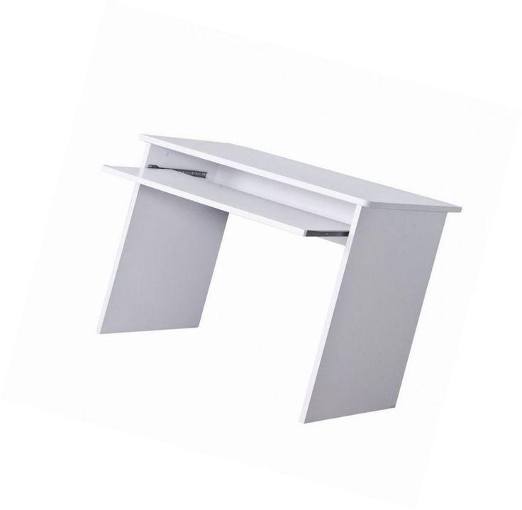 White Compact Computer Table Desk Workstation Sliding Keyboard Shelf Space Tower #UnbrandedGeneric