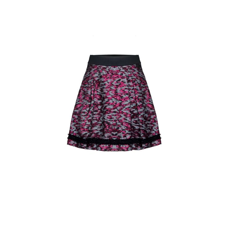 Naughty Dog #FW1415 jacquard #skirt with lurex effect. Contrasting lurex band on the botton.