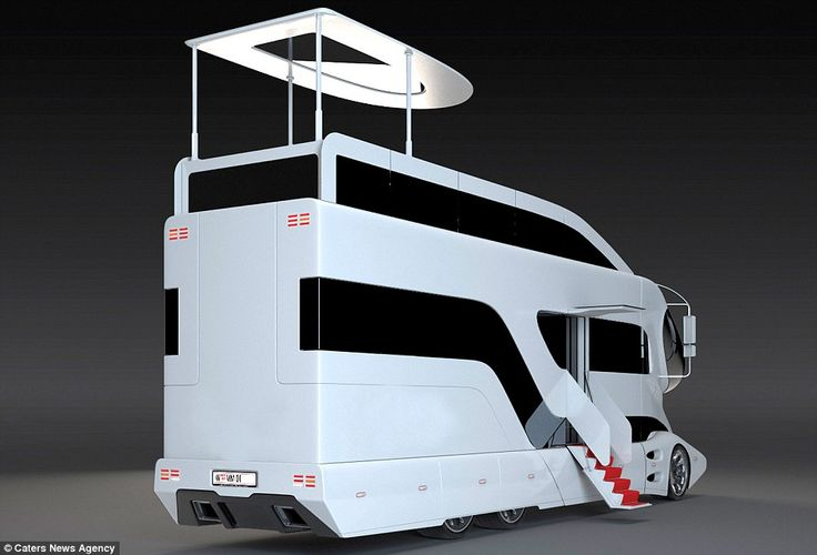 'The eleMMent series from Marchi Mobile   Retractable steps emerge from the impressive vehicle to allow passengers on to the mobile home - the steps are even lined with a red carpet