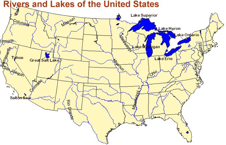 Map Of The United States With Rivers And Lakes - Us map with rivers labeled