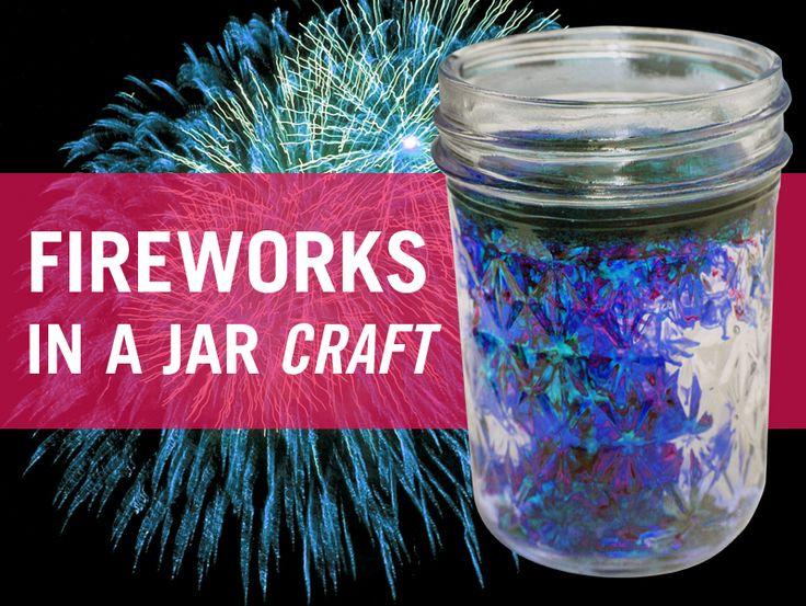 Make your own fireworks in a jar! #fireworks #craft #fourthofjuly