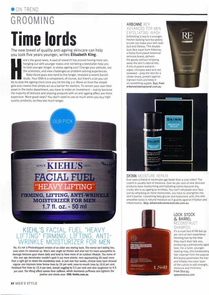 """Mens Style Magazine - Sept 2013. The new breed of anti-aging skincare can help you look 5 years younger. Arbonne's RE9 Exfoliating Wash """"delivers the goods without stripping away the skin's natural oils"""".  Shop online at: http://StephanieGarveyAtlanta.arbonne.com/  ID#22270849"""