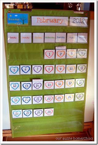 Our Aussie Homeschool Pocket Chart Calendar Printables USE target