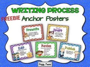FREEBIE!  These Writing Writing Process anchor posters can be used in two ways: As a visual reminder to your students of the steps to writing, or used as a clip chart for you students to put their clip to track their progress on a writing project.
