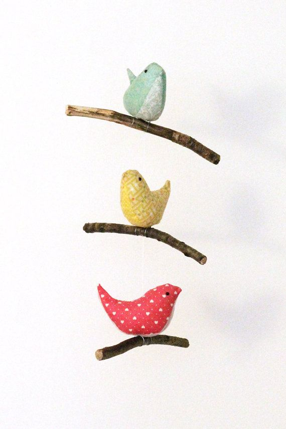 Bird Hanging Mobile - Baby Nursery Decor - 3 Handmade Birds in Teal, Yellow and Pink Cotton Fabrics