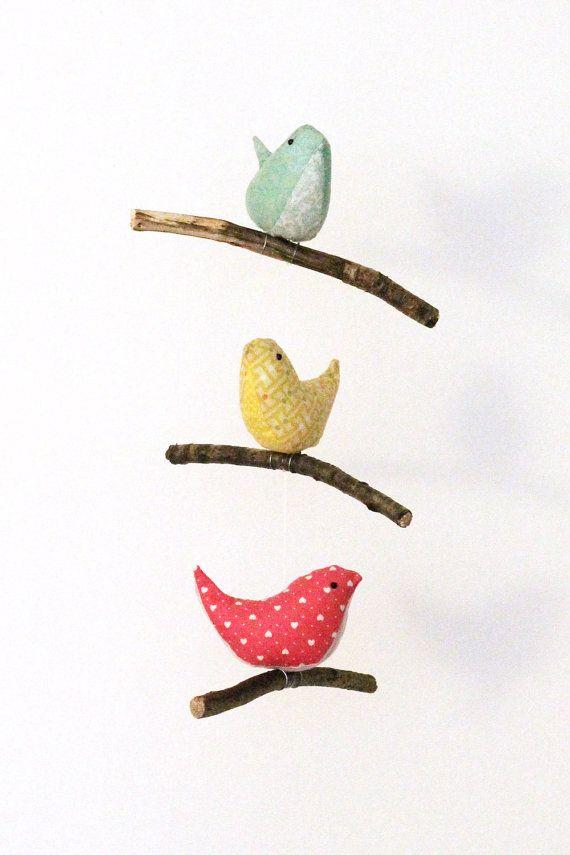 Bird Hanging Mobile Baby Nursery Decor 3 Handmade Birds In Teal Yellow And Pink Cotton Fabrics