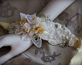 THOROUGHLY MODERN MILLIE 1920s Vintage Inspired Bridal Lace Headband. $75.00, via Etsy.