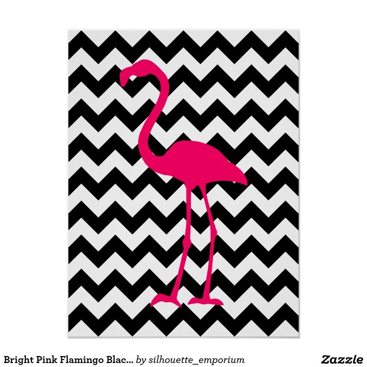 Ziguezague preto e branco do flamingo cor-de-rosa poster