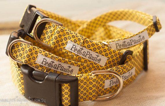 Dog Collar Yellow and Black Polka Dot Dog Collar by PretaPawte, $19.00