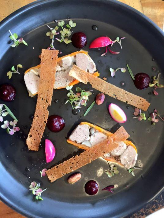 PinotNoir lamb fillet and shimenji terrine beetroot rye Croute