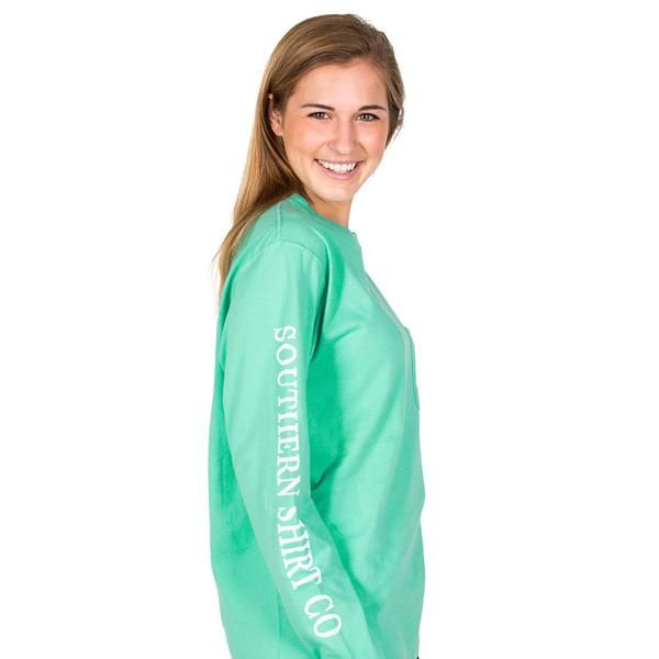 Seaside Logo Long Sleeve Tee in Florida Keys Green by The Southern Shirt Co. - 1