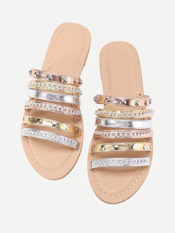 36c858e8abe1 Metallic Strappy Sandals With Chain -SheIn(Sheinside)