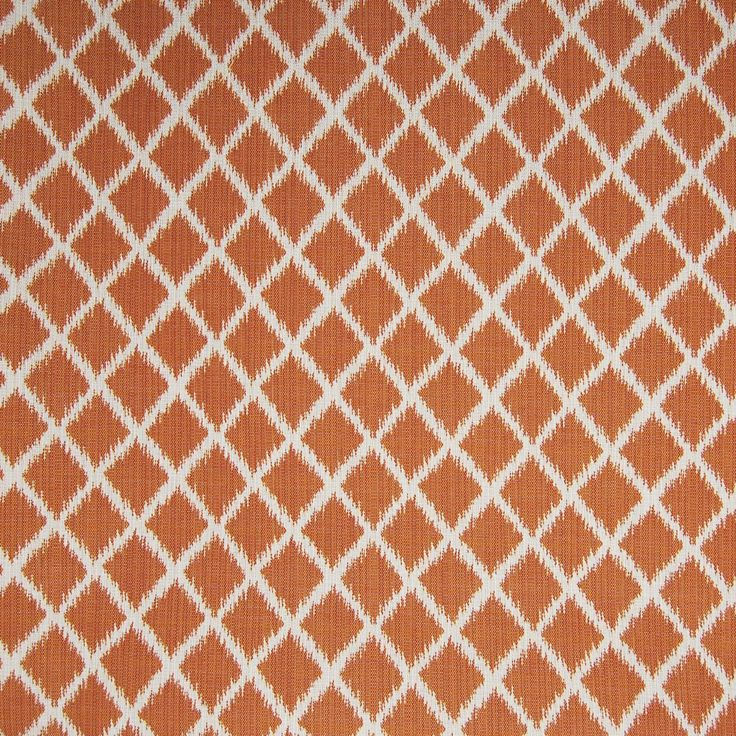 Orange Color Diamond And Ikat Pattern Outdoor And Made In USA And Woven  Type Upholstery Fabric Called Apricot By KOVI Fabrics