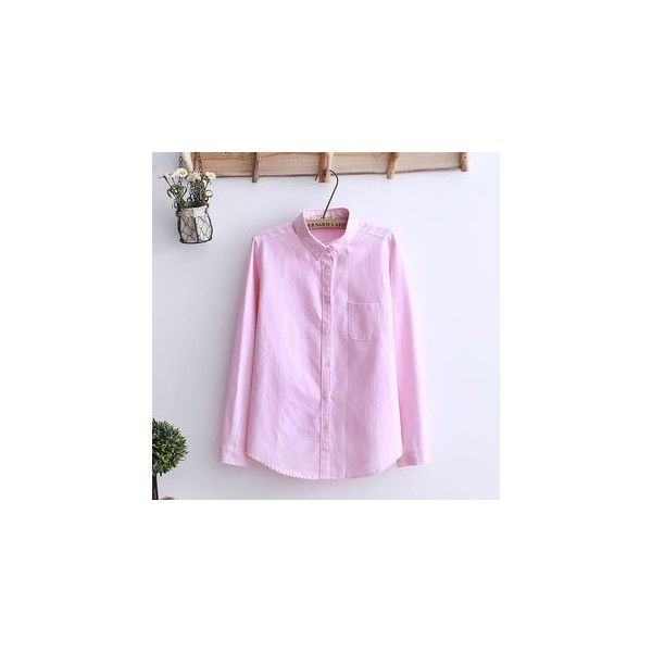 Plain Oxford Shirt (265 ARS) ❤ liked on Polyvore featuring tops, shirts, women, shirt top, pink top, cotton shirts, pink shirts and pink oxford shirt