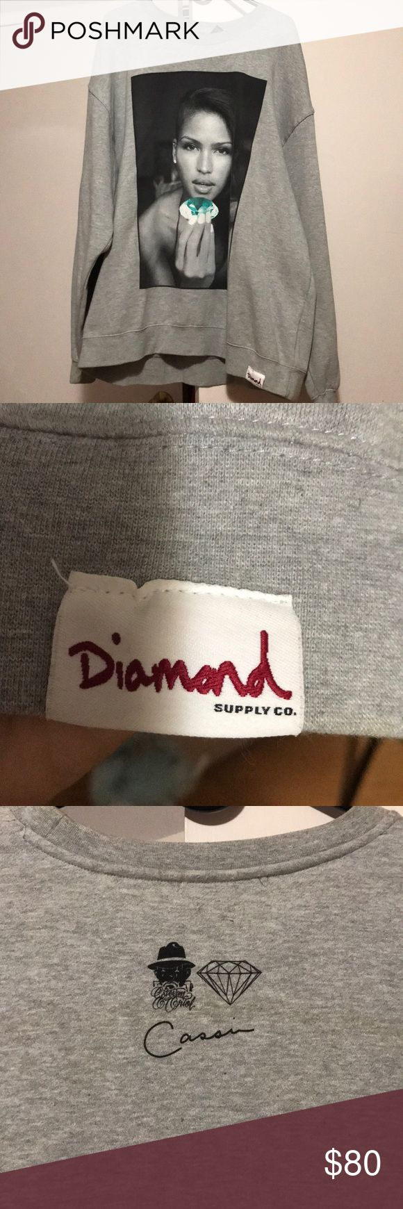 Diamond Supply Co Cassie Ventura X Estevan Oriol NWOT Limited edition sweatshirt featuring the 'Diamond Girl' Cassie Ventura  Ladies wear it as an oversized dress or fellas as a sweatshirt. Diamond Supply Co. Shirts Sweatshirts & Hoodies