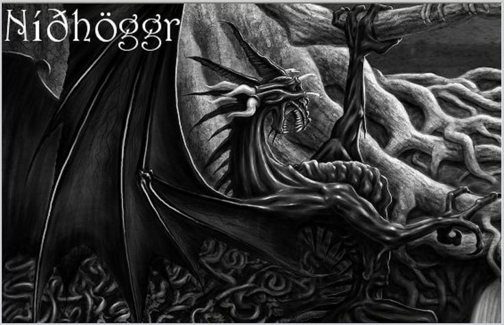 In Norse mythology, Níðhöggr (Malice Striker, often anglicized Nidhogg) is a dragon who gnaws at a root of the world tree, Yggdrasil. In historical Viking society, níð was a term for a social stigma implying the loss of honor and the status of a villain. Nidhogg chewed the corpses of the inhabitants of Náströnd: those guilty of murder, adultery, and oath-breaking, which Norse society considered among the worst possible crimes.